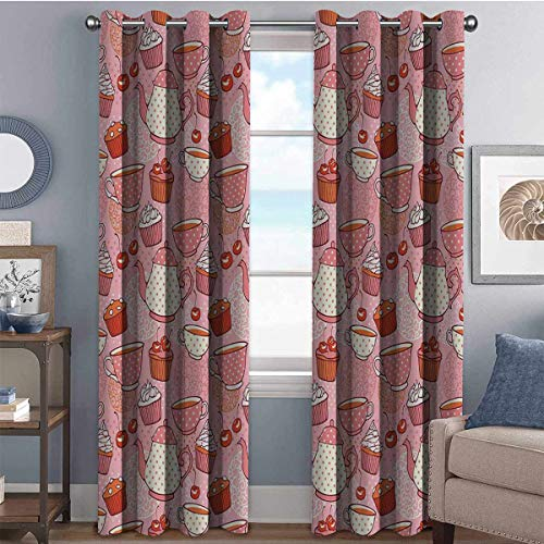 Annery Teapots Cups Cakes Wear-Resistant Color Curtain 2 Panel Sets W84 x L84 Inch