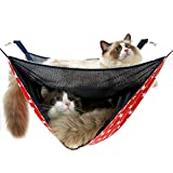 NACOCO 2 Level Comfortable Cat Hammock, Breathable Hanging Bed/nest for Kitten/Adult Cats, Double Layer Pet Cage for Spring/Summer/Winter(Red Star)