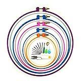 Cerceaux de broderie, Wartoon 5 pièces Cross Stitch Hoop Ring Cercle de broderie Set 12,5 cm à 28 cm...
