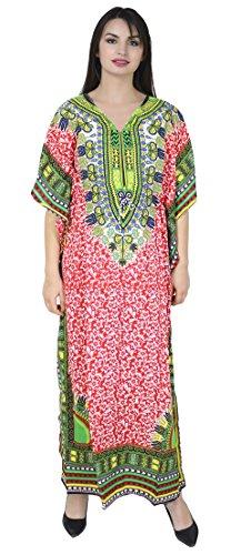 SKAVIJ Damen Tunika Kaftan Nachthemd für den Abend (freie Größe, rot)