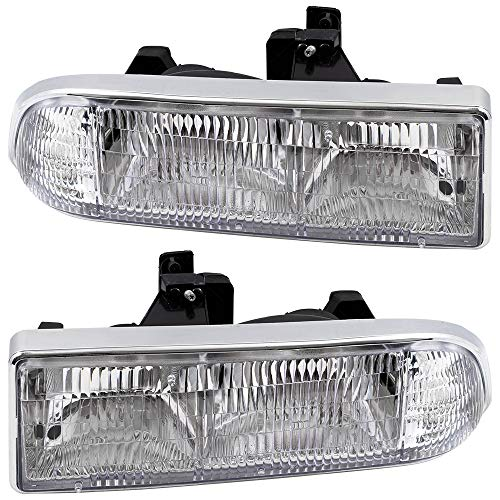 Replacement Driver and Passenger Set Headlights Compatible with 98-05 Blazer 98-04 S10 Pickup 16526217 16526218