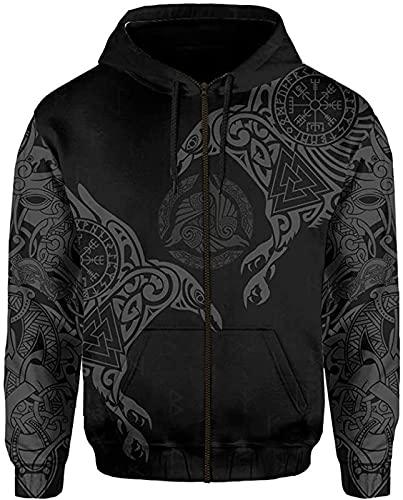 QQTQQ Sudadera con capucha Nordic Viking Yggdrasil And Ravens tatuaje con capucha, estampado en 3D, unisex, manga larga, cierre negro-4XL