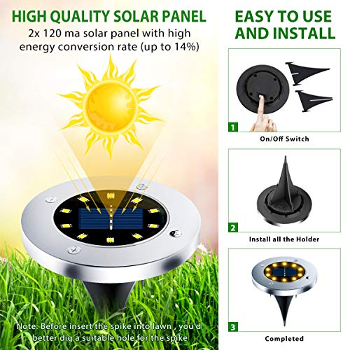 Flalivi Solar Ground Lights - 10 LED Solar Garden Lights Outdoor Waterproof Bright in-Ground Lights for Lawn Pathway Yard Driveway (8 Packs)