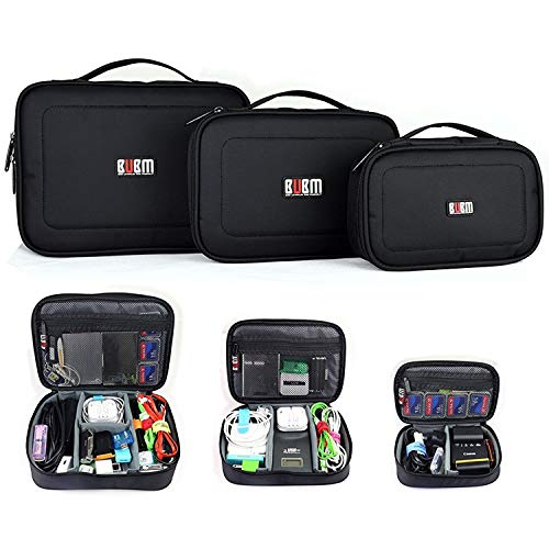BUBM 3pcs/Set Padded Travel Office Cord Cable Gear Organizer Electronics Accessories Bag Gadget Carry Pouch Electrical Cord Management