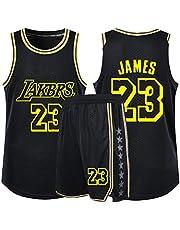 Lebron James Jongens Meisjes Basketball Fans Jersey Sets, Los Angeles Lakers NO.23 Jonge Swingman Jerseys Summer Vest Shirt + Shorts Twee-delige set