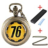 QWASZ Pocket Watch Quartz Pocket Watch Gifts Sets with Bronze Pendant Chain Necklace Bags Boxes Cleaner Cloth