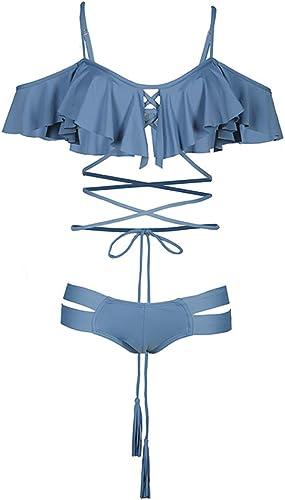 ZXCC Maillot de Bain Femme Maillot de Bain Bikini plage en Dentelle ajourée avec Tube supérieur (Couleur  Bleu) (Couleur   Bleu, Taille   M)