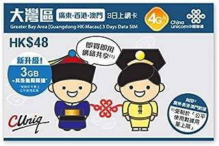 【中国聯通香港】大湾区 広東と香港、マカオ 3日間 データ SIMカード 3GB FUP