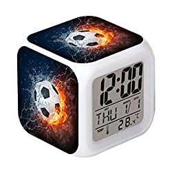 Cointone Led Alarm Clock Football Fire Sport Design Creative Desk Table Clock Glowing Electronic Colorful Digital Alarm Clock for Unisex Adults Kids Toy Birthday Present