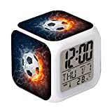 Cointone Led Alarm Clock Football Burning Sport Design Creative Desk Table Clock Glowing Electronic Colorful Digital Alarm Clock for Unisex Adults Kids Toy Birthday Present