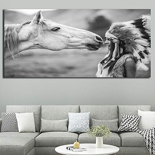 KWzEQ Schwarzweiss-Natives Porträtplakat für Hauptfoto-Wandkunstwohnzimmer-Wanddekorationsplakat,Rahmenlose Malerei,30x60cm