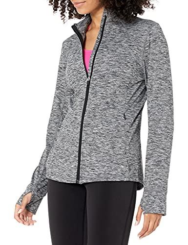 Amazon Essentials Women's Brushed Tech Stretch Full-Zip Jacket, Dark Grey Space dye, Medium