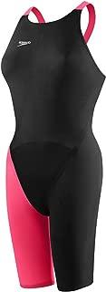 Speedo Womens Lzr Elite 2 Closed Back Kneeskin Swimsuits, Black/Hot Coral - 26L