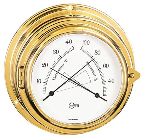 Barigo Bullaugen Comfortmeter thermo/hygrometer gepolijst messing Ø 15cm - Arabische cijfers