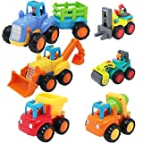 6 Set Construction Car Toys: 1 Tractor, 1 Bulldozer, 1 Cement Mixer Truck, 1 Dumper, 1 Road Roller, and 1 Forklift Features: 4 Push & Go toy cars are featured with friction can slide for a long distance Colorful & High Quality: cars made of high qual...