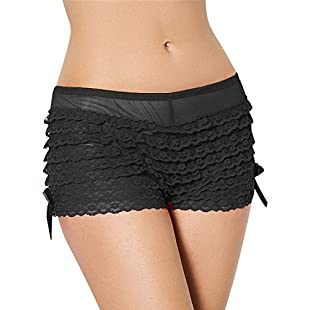 Yummy Bee Frilly Knickers Panties Burlesque Ruffle Pants Boy Shorts Plus Size (10, Black)