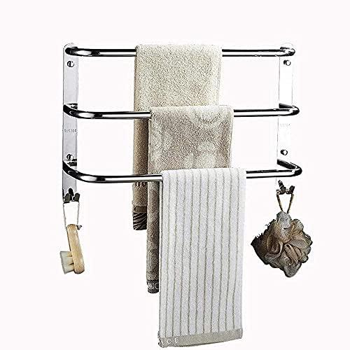 Toallero, toallero montado en la pared con gancho, toallero de baño, toallero de tres capas para baño y retrete-50Cm