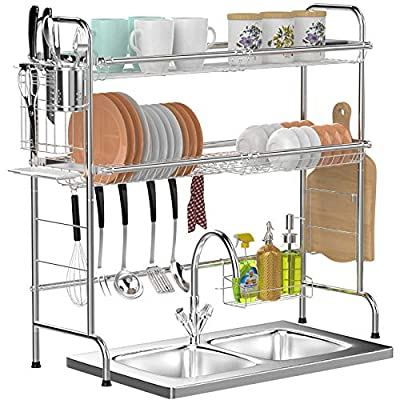 Over Sink Dish Rack, GSlife 2 Tier Stainless St...