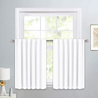 PONY DANCE Window Valances Set - Short Tier Curtains Thermal Drapes for Home Decoration Energy Saving for Bathroom Kitchen, 52 W x 36 L, Pure White, 1 Pair