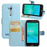 HualuBro Custodia Zenfone Go ZB500KG, [Intorno Protezione] Custodia in Pelle PU Leather Portafoglio Wallet Protettiva Case Flip Cover per ASUS Zenfone Go ZB500KG Smartphone (Blu)