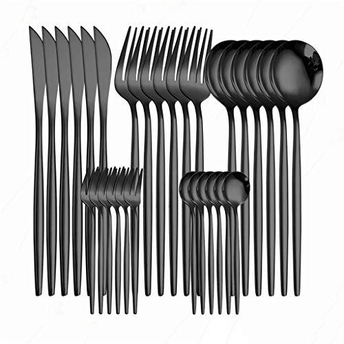 Conjunto de cubiertos Conjuntos de vajilla de acero inoxidable Conjunto de cocina Cuchillo de vajilla completo Cuchillo Tenedor Cuchara de acero Oro Cubiertos Mesa Conjunto ( Color : Rainbow 6sets )
