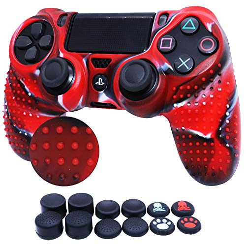 RALAN Funda de silicona para PS4, PS4 y PS4 de transferencia de agua para mando PS4 Slim/PS4 Pro (8 x 8 x 8 x Cat + Skull Cap Cover Grip x 2) (rojo blanco y negro)