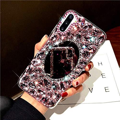 Herbests Kompatibel mit Samsung Galaxy Note 10 Plus Hülle Glänzend Glitzer Bling Strass Diamant Spiegel Handyhülle Mädchen Durchsichtig Kristall Steine Hülle Schutzhülle Bumper Case Tasche,Rosa