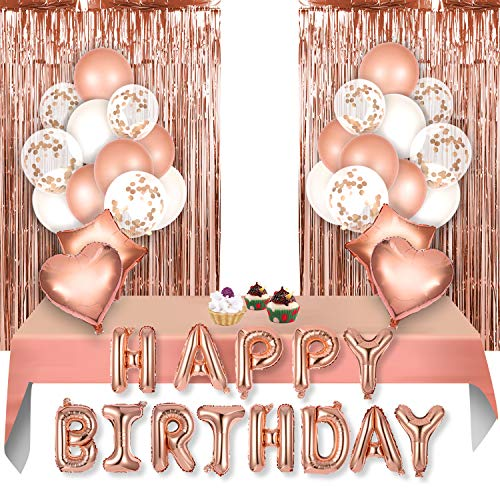 VAINECHAYBallon Rose Gold, Décoration Rose Gold Anniversaire Guirlande Happy Birthday Ballon Anniversaire Confetti, Rideau Anniversaire Nappe Rose Gold