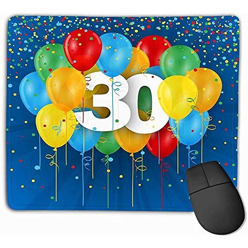 Gaming Mousepad Pad Grote Dikte, Muis Pad Gelukkig Th Verjaardag Verjaardagskaart Ballonnen Kleurrijke Tti Donkerblauwe Achtergrond Plezier Rechthoek Rubber Mousepad 25X30Cm