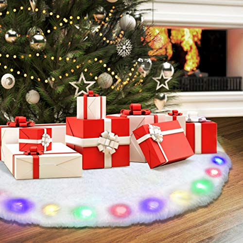 NASUM Christmas Tree Skirt White 48 Inches Christmas Skirt for Tree with LED Light Plush Tree Skirt Christmas Light Decoration Luxury Faux Fur Round Skirts Made of Thick Xmas Holiday White