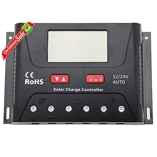 HQST 30 Amp PWM Smart Solar Charge Controller with LCD Display