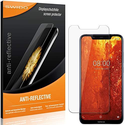 SWIDO Schutzfolie für Nokia 8.1 [2 Stück] Anti-Reflex MATT Entspiegelnd, Hoher Festigkeitgrad, Schutz vor Kratzer/Folie, Bildschirmschutz, Bildschirmschutzfolie, Panzerglas-Folie