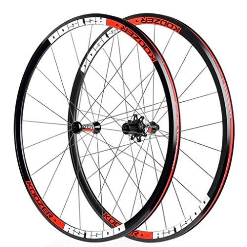 LSRRYD Ciclismo Ruedas Juego de Ruedas Racing Road Bike 700C Llantas de aleación de Doble Pared Freno de Disco 8 9 10 11 Velocidad Liberación rápida 30mm (Color : Red)