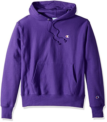 Champion LIFE Men's Reverse Weave Pullover Hoodie, Purple/Left Chest C Logo, Small