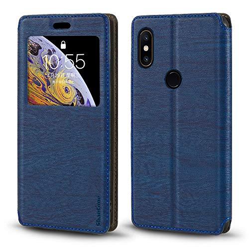 Funda Xiaomi Mi Mix 2S, Funda de cuero de grano de madera con titular de tarjeta y ventana, cubierta magnética para Xiaomi Mi Mix 2S (azul)