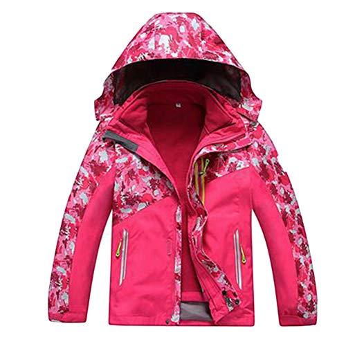 Ommda 3-in-1 Hardshelljacke Wasserdicht Atmungsaktiv Kinder Fleecejacke Outdoor Jacke für Jungen und Mädchen Rose Rot 110cm(4)
