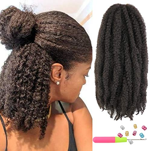 6Packs Cuban Twist Hair 16 inch Afro Kinky Curly Marley Braids Hair Extension Marley Hair For Twists Synthetic Fiber Marley Braiding Hair For Crochet Twist or Faux Locs (4#)