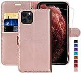 MONASAY iPhone 11 Pro Max Handyhülle 6,5 Zoll, [Gehärteter Glasschirmbeschützer Inbegriffen][Kartenfach] [Standfunktion] Klappbar Leder Tasche Brieftasche Schutzhülle für Apple iPhone 11 Pro Max