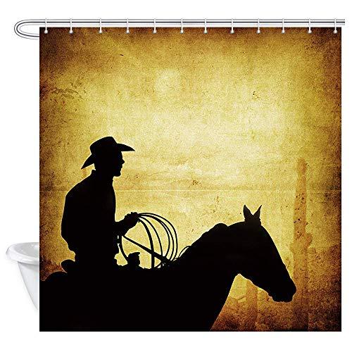 Aliyz American West Rodeo Cowboy Duschvorhang Westliche Wüstenlandschaft & Kaktus Gelbbraune Tapete Cowboy & Pferd Silhouette Kunstdruck Badvorhänge Badaccessoires 71X71in ''