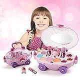 lossomly Los Niños Fingen Maquillaje Set Princess Toys with Carry Case Fashion Cosmetic Beauty Jewelry Kit Juegos De rol para Niños Niñas Safety