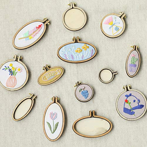 ZOCONE 10 Sets Mini Embroidery Hoop Tiny Wooden Frames Mini Wood Hoops DIY Creative Gifts Small Pendant for Embroidery and Cross Stitch