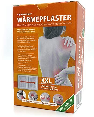 5x Happyplast Wärmepflaster XXL I 14,5 cm x 10 cm I 2 Wärmekissen für mehr Flexibilität I Bis zu 8 Stunden...