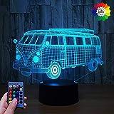 HPBN8 Ltd 3D Bus Lampe USB Power 7/16 Farben Fernbedienung