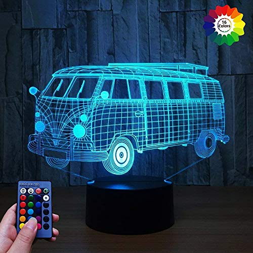 HPBN8 Ltd 3D Bus Lampe USB Power 7/16 Farben Fernbedienung Optical Illusion 3D LED Lampe Formen Kinder Schlafzimmer Nacht Licht