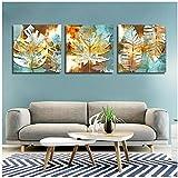 Cuadro de cartel de hoja de arce abstracto moderno Cuadro de lienzo Restaurante Dormitorio Decoración de hogar Pintura -50x70cmx3 Sin marco
