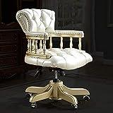 SHJR Vintage Silla Giratoria para Sala de Estar y sofá Individual Cómodo sillón Muebles para el hogar Muebles de Oficina Silla de Escritorio de Cuero Genuino,Champagne Gold