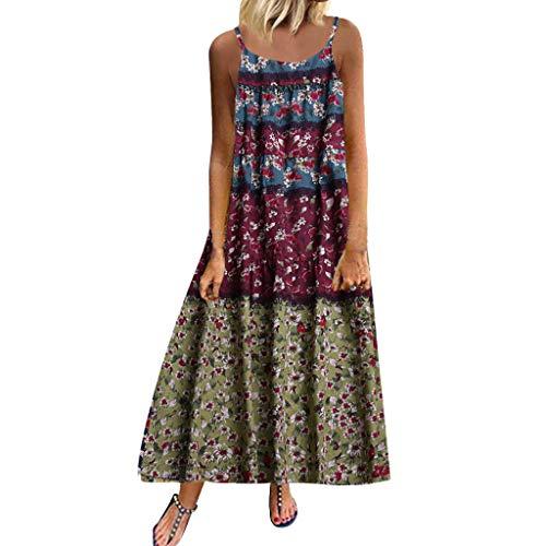 aihihe Womens Sleeveless Dresses Casual Loose Summer Plus Size Dress Bohemian Print Tunic Swing T-Shirt Dresses