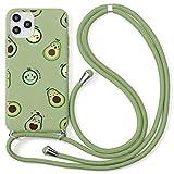 ZhuoFan Funda con Cuerda para iPhone 7 Plus / 8 Plus Funda [5.5'] Verde Dibujos Carcasa de Silicona Suave Case con Colgante Cordon Colgar Correa de Cuello Antichoque Bumper para iPhone 8 Plus