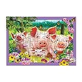 3D LiveLife Tray Jigsaw Puzzle - pluma de cerdo. ¡Rompecabezas lenticular del animal del campo 3D con 40 pedazos! Tray Puzzle Range de Deluxebase. ¡Ilustraciones originales autorizadas del artista ren
