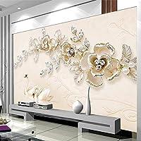 Empty モダンでシンプルな家の装飾3Dオレンジの花の写真壁画のリビングルームの寝室のテレビの背景不織布エンボス壁紙カスタムサイズ-450x300CM